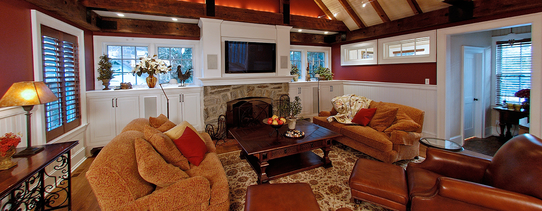 Vaulted Exposed Beams Custom Family Room Ardmore